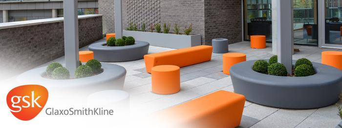 Orange & grey outdoor seating to match GSK branding